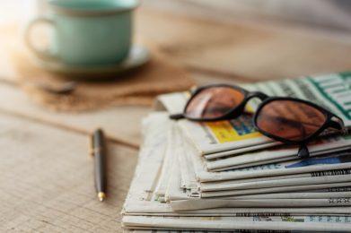 Newspapers on wooden floors